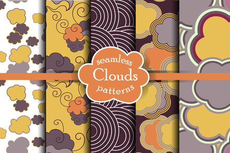 ether: Cheerful sky seamless pattern set. Cartoon sky and clouds vector illustration. Colorful heaven collection. Illustration