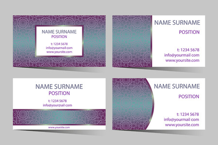 amaranthine: Business-card set with elegant round design. Beautiful vector colorful stained glass styled pattern ornament for business card - banner template. Illustration