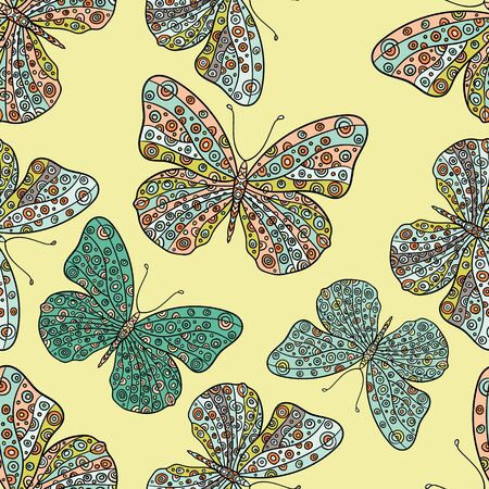 swill: Seamless pattern with butterflies. Hand drawn vector zentangle butterfly illustration. Decorative abstract doodle design element.