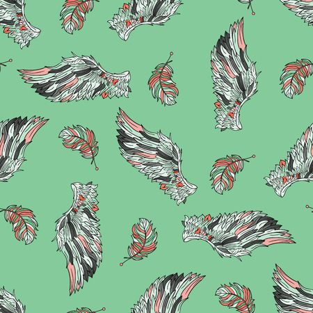 feathery: Seamless pattern with angel wings. Hand drawn doodle colored template with wings and feathers.