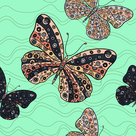 swill: Seamless pattern with butterflies on a mint background. Hand drawn vector zentangle butterfly illustration. Decorative abstract doodle design element.