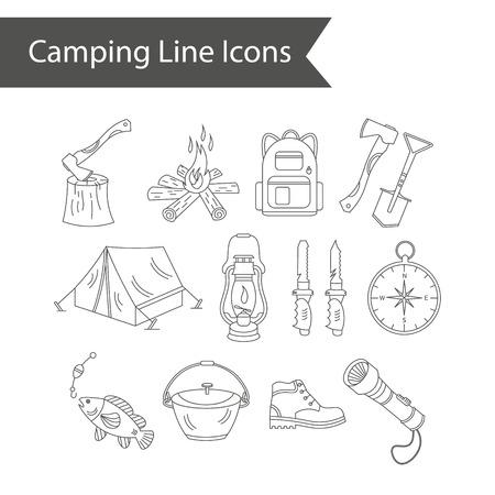 kerosene lamp: Camping holiday vector line icons. Thin liner vector icons - wood, fire, kerosene lamp, lantern, tent, knife, backpack fishing compass shoes