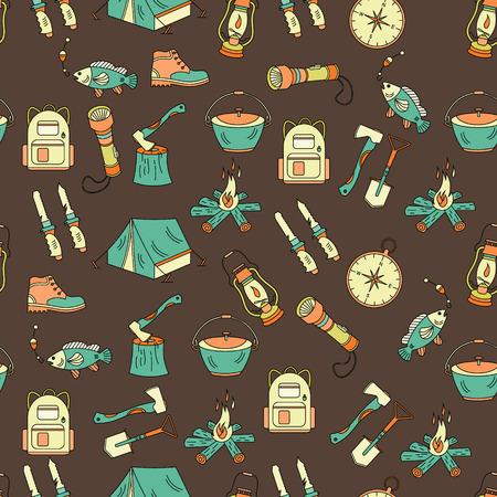 kerosene lamp: Camping holiday seamless vector pattern with color symbols - wood, fire, kerosene lamp, lantern, tent, knife, backpack, fishing, compass shoes