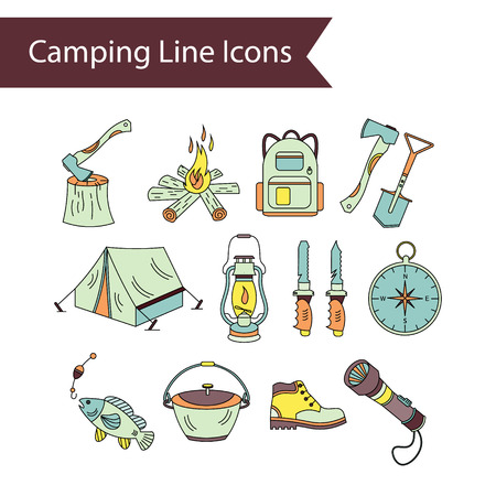 wood fire: Camping holiday vector line icons. Color vector icons - wood, fire, kerosene lamp, lantern, tent, knife, backpack fishing compass shoes