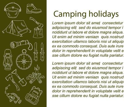 kerosene: Camping holiday vector card with line icons. Wood, fire, kerosene lamp, lantern, tent, knife, backpack, fishing, compass, shoes. Illustration