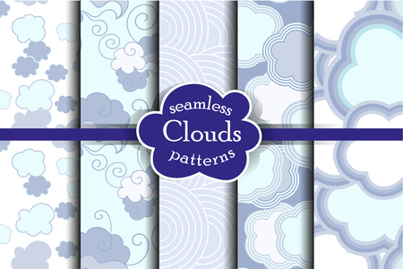 tender: Tender sky seamless pattern set. Cartoon sky and clouds vector illustration. Blue heaven collection.