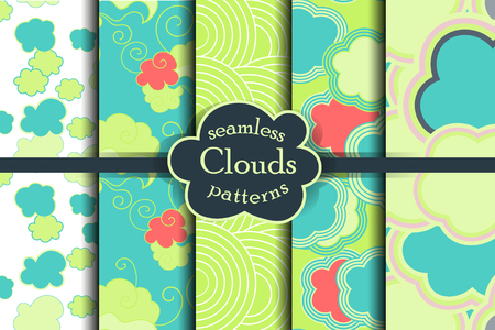 ether: Bright, colorful, cartoon sky and clouds seamless pattern set. Vector illustration. Heaven collection.