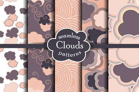ether: Purple sky seamless pattern set. Cartoon sky and clouds vector illustration. Purple heaven collection.