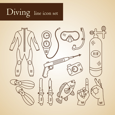 air gauge: Vector line icons with diving equipment. Linear icons of scuba, oxygen balloon, diver knife, harpoon, spear gun, gauge, camera.