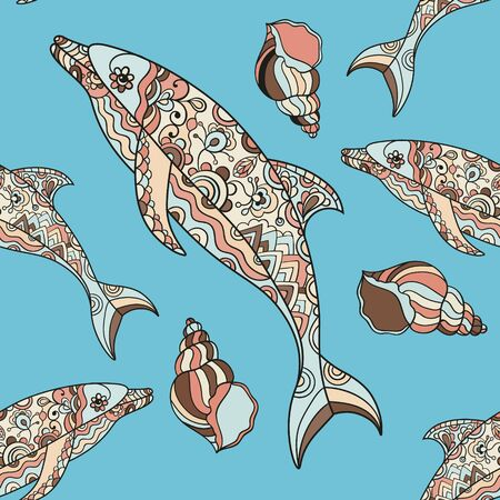 graphics design: Vector seamless dolphin pattern with hand drawn dolphin doodle illustrations. Ethnic tribal design.