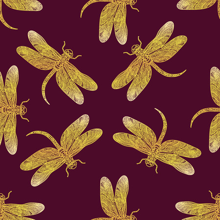Seamless vector pattern with golden shiny dragonfly on a dark red background. Elegant decoration. Can be used for wallpaper, pattern fills, web page background, surface textures. Vector boho design.