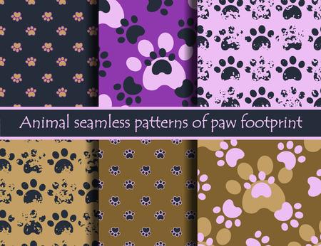 huellas de perro: Los vectores de color illustrationsith huellas de animales. Vector sin patrón establecido con el gato o el perro huellas. Puede ser utilizado para el papel pintado, fondo de páginas web, texturas superficiales, tarjetas y carteles.