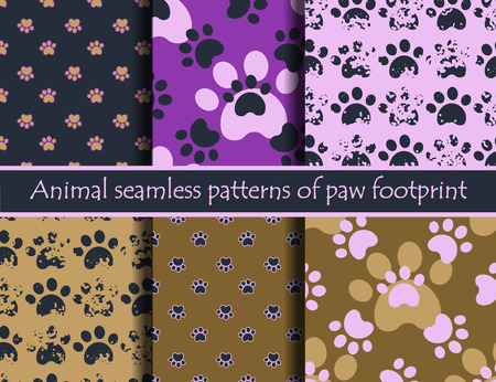 Vector colour illustrationsith animal footprints. Vector seamless pattern set with cat or dog footprints. Can be used for wallpaper, web page background, surface textures, cards and posters.