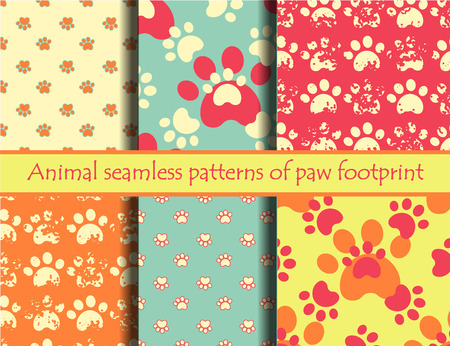 Vector bright illustrationsith animal footprints. Vector seamless pattern set with cat or dog footprints. Can be used for wallpaper, web page background, surface textures, cards and posters.