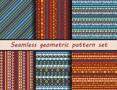 peruvian: Seamless vector texture set. Aztec style. Peruvian drawings. Seamless pattern collection. thnic seamless backdrop.
