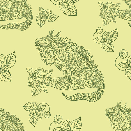 iguana: Vector hand drawn iguana. Ethnic tribal styled pattern. Seamless pattern with tropical animals
