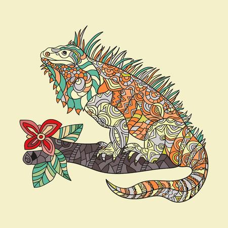 Vector dessiné à la main iguane. Ethnique motif stylisé tribal. le style Zentagle. Vecteurs