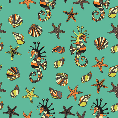 oceanside: Seamless pattern with sea shells, starfish and sea horse. Summer vector illustration. Cartoon design.