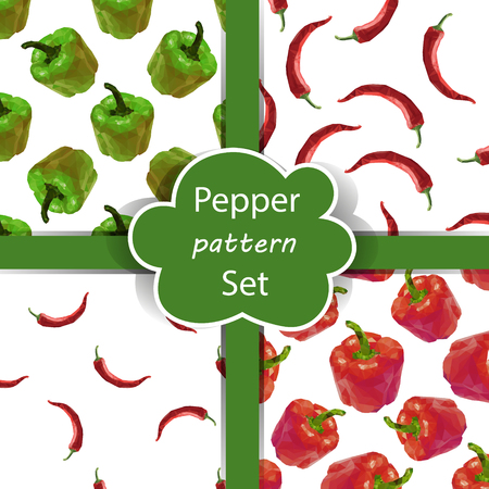 bulgarian: Seamless pattern set with polygonal peppers. Pepper background. Bell pepper, chili pepper pattern collection. Vector bulgarian and spise pepper drawing. Illustration
