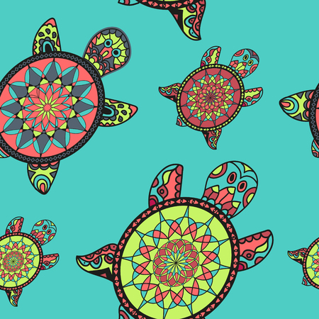 indian family: Seamless tortoise pattern in oriental style. Sea turtles family. Can be used for wallpaper, pattern fills, web page background, surface textures. Vector indian design.