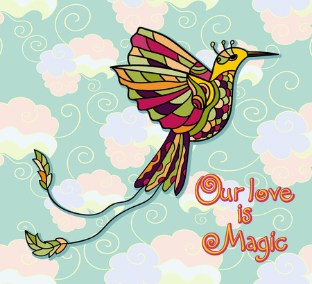 peruvian: Vector illustration with colibri. Tribal peruvian style. Colored tropical bird. Love card. Our love is magic.