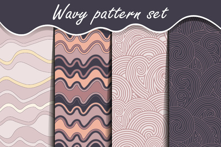 water stream: Waves seamless pattern set. Purple vector illustration for abstract aqua design. Endless texture can be used for fills, web page background, surface. Collection of wallpaper with waves. Illustration