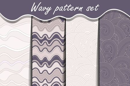 Ternde purple waves seamless pattern set. Vector illustration for abstract aqua design. Endless texture can be used for fills, web page background, surface. Collection of wallpaper with waves.