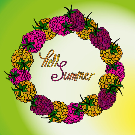 sorb: Vector floral summer raspberry frame. Vestor illusrtration. Illustration