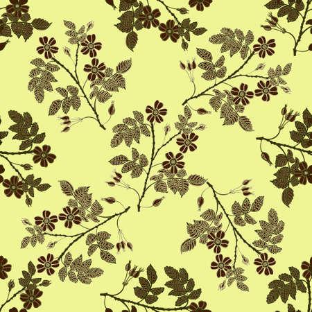 eglantine: Vector vintage seamless pattern with eglantine. Vector beige briar pattern