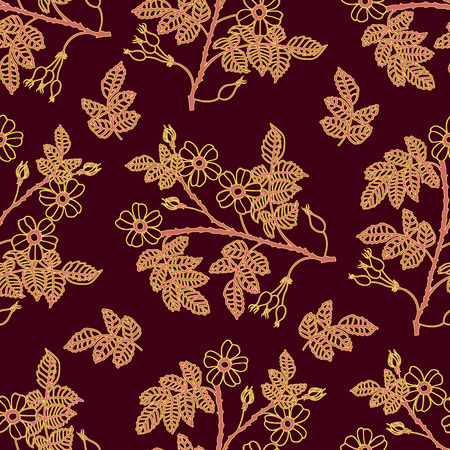 eglantine: Vector dark vinous seamless pattern with eglantine roses. Vector briar seamless background. Illustration
