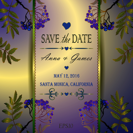 florid: Vector wedding invitation with the rowan.  Vintage vector card template. Save the date invitation at the dark blue background.