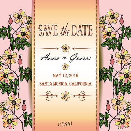 eglantine: Vector wedding invitation with eglantine. Vector card with briar . Vintage vector card template. Save the date invitation at the tender rose background, eps 10