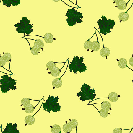 grosella: Vector gooseberry seamless pattern. Vector gooseberry background. Vectores
