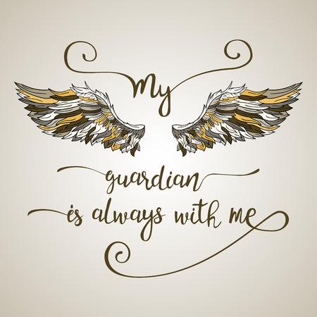 Belettering hand getekende offerte met doodle sierlijke engelenvleugels. Kalligrafie inspirerend citaat. Mijn beschermengel is altijd bij me. Vector Illustratie