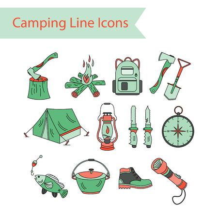 kerosene lamp: Camping holiday vector line icons. Color vector icon. Wood, fire, kerosene lamp, lantern, tent, knife backpack fishing compass shoes