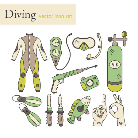 air gauge: Vector line icons with diving equipment. Linear colored icons of scuba, oxygen balloon, diver knife, harpoon, spear gun, gauge, camera.