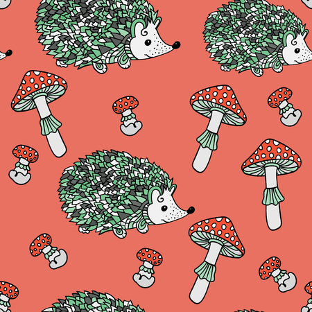 grebe: Seamless pattern with hedgehogs and mushrooms. Cute cartoon animal background. Boho striped. Vector