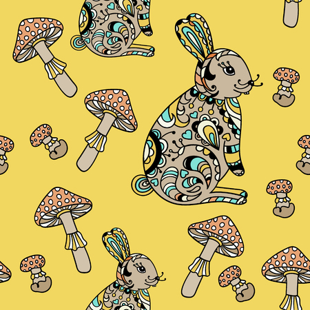 grebe: Seamless pattern with forest hare and mushroom. Cute cartoon animal background. Boho striped. Vector