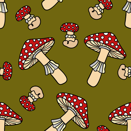 Mushroom seamless pattern. Cute cartoon animal background. Boho striped. Vector