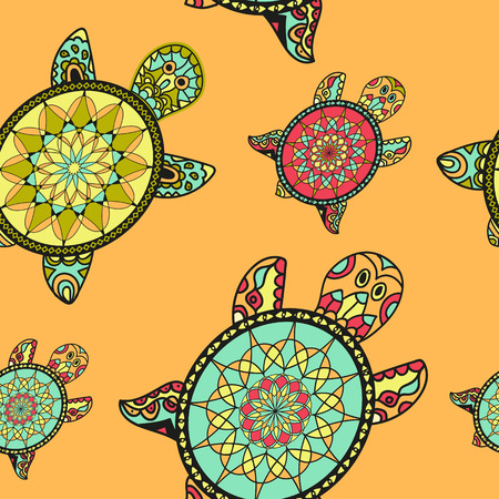 Seamless tortoise pattern in oriental style. Sea turtles family. Can be used for wallpaper, pattern fills, web page background, surface textures. Vector indian design.