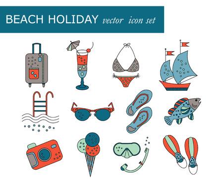 flippers: Vacaciones en la playa vector de iconos de colores. Fino forro de vectores iconos de vacaciones de verano. Aletas, paso-ins, máscara, cóctel, maleta, velero, traje de baño, helados, gafas de sol de la piscina de la cámara de pescado