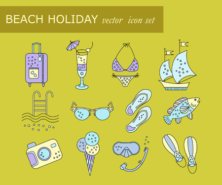 Beach holiday vector colored icons. Thin liner vector icons summer vacation. Flippers, step-ins, mask, cocktail, suitcase, sailboat, swimsuit, ice cream, sunglasses fish camera pool