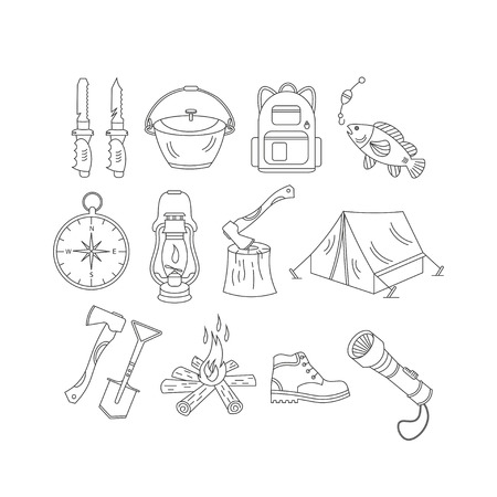wood fire: Camping holiday vector line icons. Thin liner vector icons - wood, fire, kerosene lamp, lantern, tent, knife, backpack, fishing, compass and shoes. Illustration