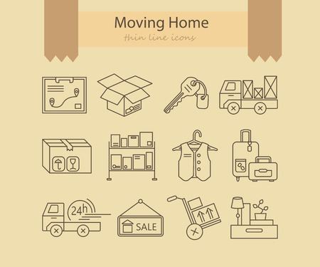 home moving: Warehouse logistic thin line icons. Moving home, moving house business  . Vector thin line icons.