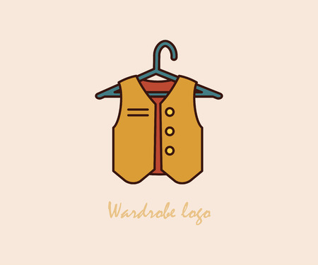 Waistcoat on a hanger. Icon for web and mobile application. Modern thin line fashion.