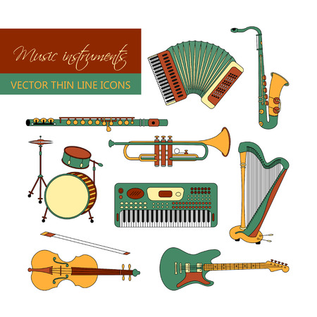 flute music: Vector color thin line icons with different music instruments synthesizer, drums, accordion, violin, trumpet, harp, drum, saxophone electric guitar flute piano Illustration
