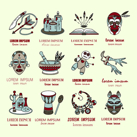 religion  herb: Voodoo African and American magic vector  . Line icons of voodoo doll, skull, chicken foot, necklace, poison, candles, drums, book a machete.
