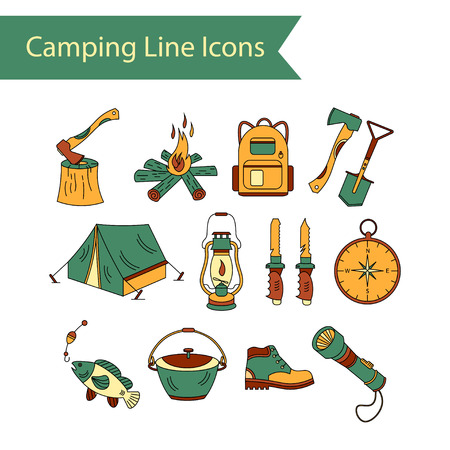 wood fire: Camping holiday vector line icons. Color vector icon. Wood, fire, kerosene lamp, lantern, tent, knife backpack fishing compass shoes