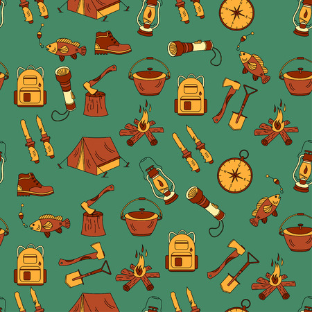 wood fire: Camping holiday seamless vector pattern with color symbols - wood, fire, kerosene lamp, lantern, tent, knife, backpack, fishing, compass shoes