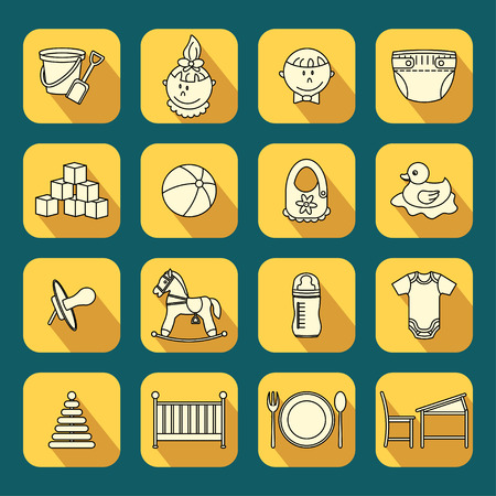 child care: Child and baby care center flat icons with long shadow. Kindergarten vector  . Diaper, sandpit, slide, horse, ball, bottle, crib, pacifier Illustration